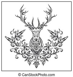 Logo graphic deer with floral ornaments