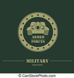 logo, graphique, insignes, gabarit, militaire