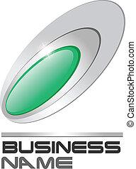 Logo green gem in silver ellipses, vector