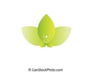 Logo green lotus flower and yoga man peace symbol