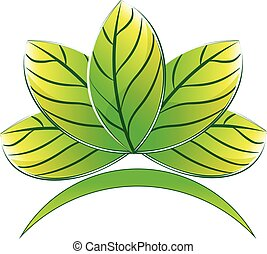 Logo green lotus plant