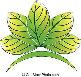 Logo green lotus plant
