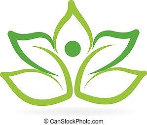 Logo green lotus yoga man
