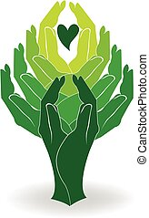 Logo green tree hands and little heart concept of help...