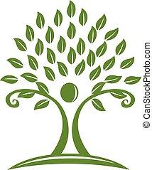 Logo green tree hands childcare