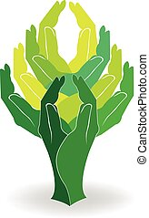 Logo green tree hands