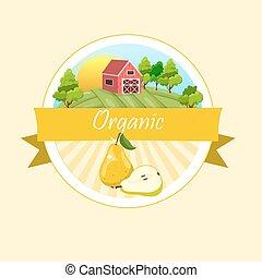 logo, groene, juice., peer, fris