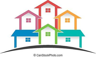 logo, groep, huisen