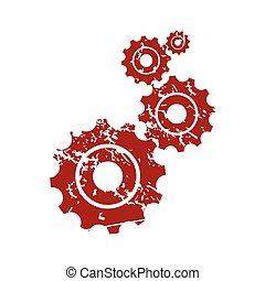 logo, grunge, czerwony, mechanizm