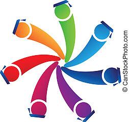 logo, grupa, figury, absolwenci