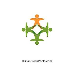 logo, gruppe, gemeinschaft, leute