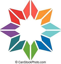 logo, gwiazda, barwny