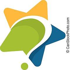 logo, gwiazda, design., wykształcenie