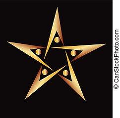logo, gwiazda, złoty, teamwork