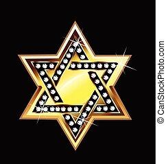 logo, gwiazda, złoty