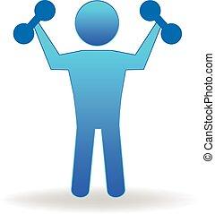logo, gymnastiksal, duelighed, figur, folk