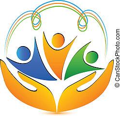 logo, hände, leute, anschlüsse