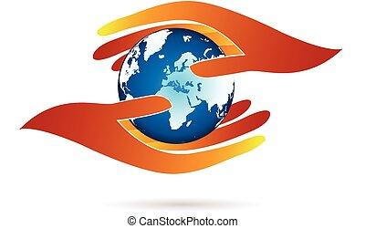 logo, hände, welt, schuetzen