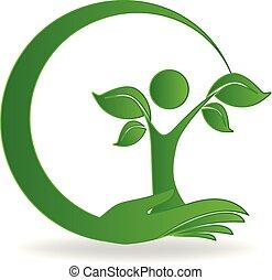 logo, hånd, træ, omsorg