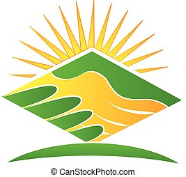 logo, håndslag, grønne
