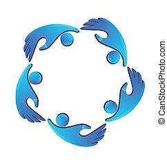 logo, hænder, beregner, branche hold