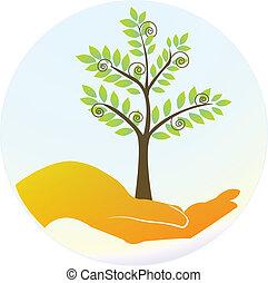 logo, hænder, beskytter, træer