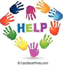 logo., hænder, dejlige, hjælp