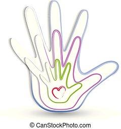 logo, hænder, familie, ikon