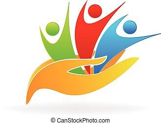 logo, hænder, folk, omsorg