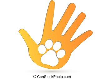 logo, hænder, vektor, pote