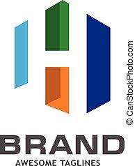 logo, h, lettre, coloré, maison