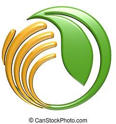 logo, hand, blatt, schuetzen