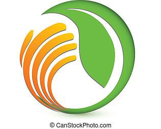 logo, hand, milieu, beschermen