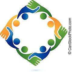 logo, handdruk, zakenlui