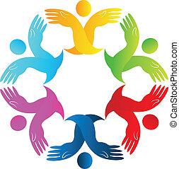 logo, handen, figuren, teamwork