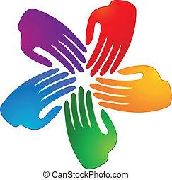 logo, handen, het verbinden, mensen