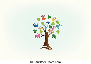 logo, handen, liefde, boompje, hartjes