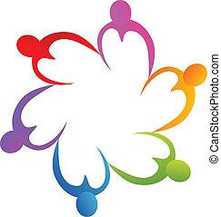 logo, handen, teamwork, hartjes