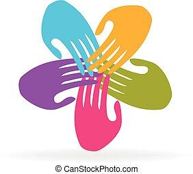 logo, handen, teamwork, mensen
