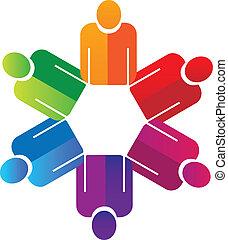 logo, handen, teamwork, vasthouden, mensen