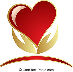 logo, handen, vasthouden, hart