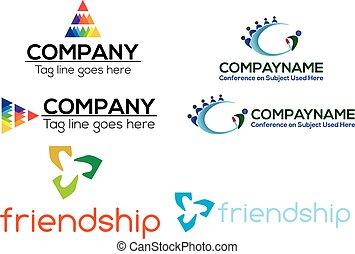 logo, handlowy, komplet