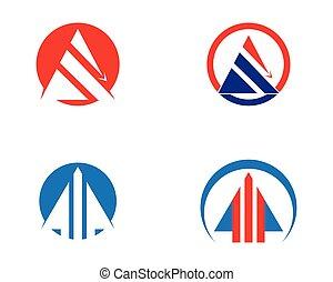 logo, handlowy, strzała, szablon