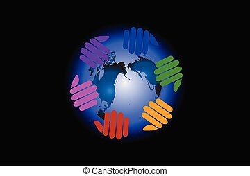 Logo hands around world