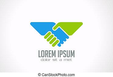 Logo Handshake abstract vector design. Partnership union. -...