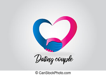 Logo handshake love heart couple people