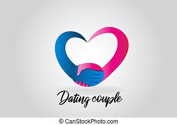Logo handshake love heart couple people