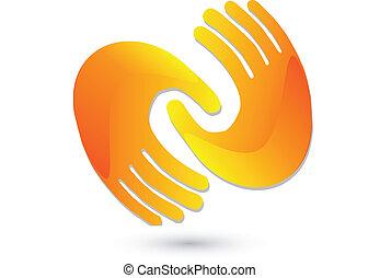 logo, handshaking, ikon