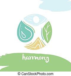 Logo harmony, four nature element, high mountain, blue sky, clea