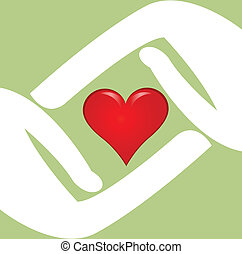 logo, hart, vector, rood, handen
